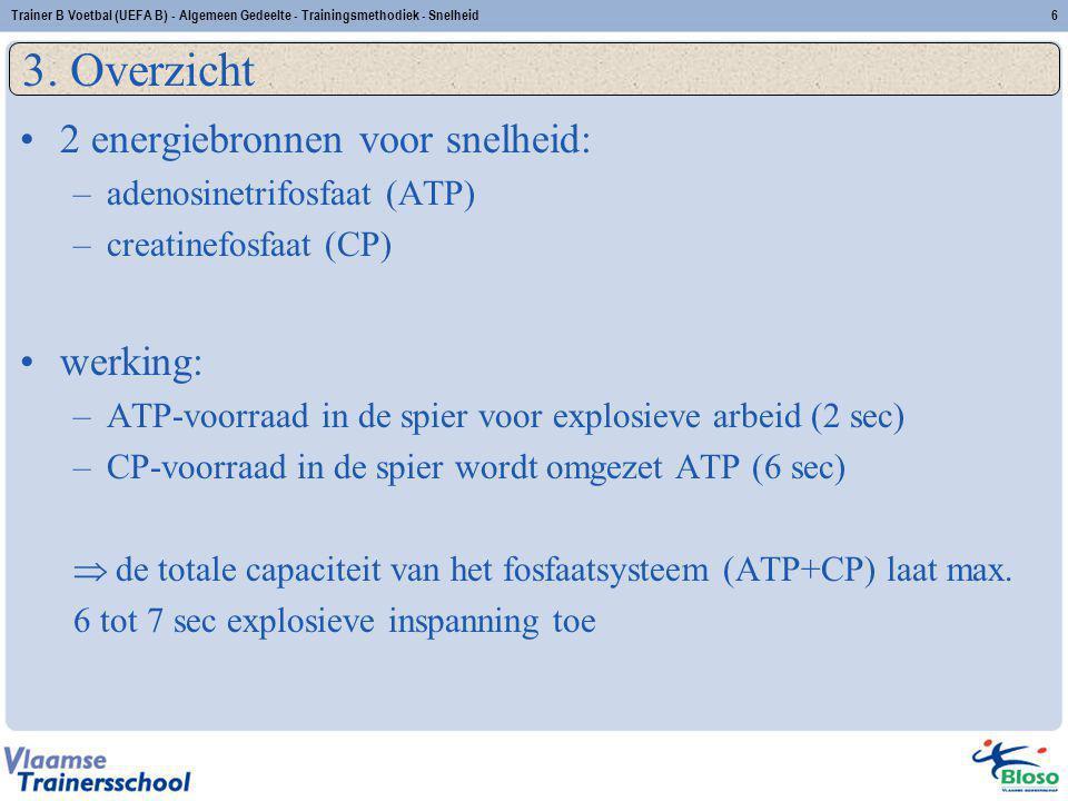 2 energiebronnen voor snelheid: –adenosinetrifosfaat (ATP) –creatinefosfaat (CP) werking: –ATP-voorraad in de spier voor explosieve arbeid (2 sec) –CP