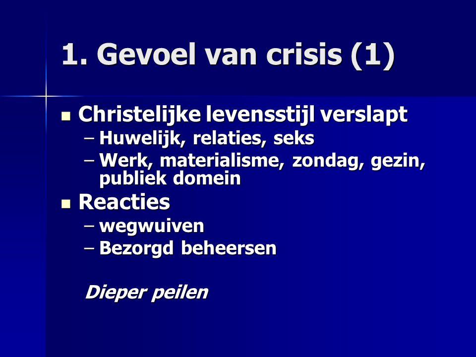 1. Gevoel van crisis (1) Christelijke levensstijl verslapt Christelijke levensstijl verslapt –Huwelijk, relaties, seks –Werk, materialisme, zondag, ge