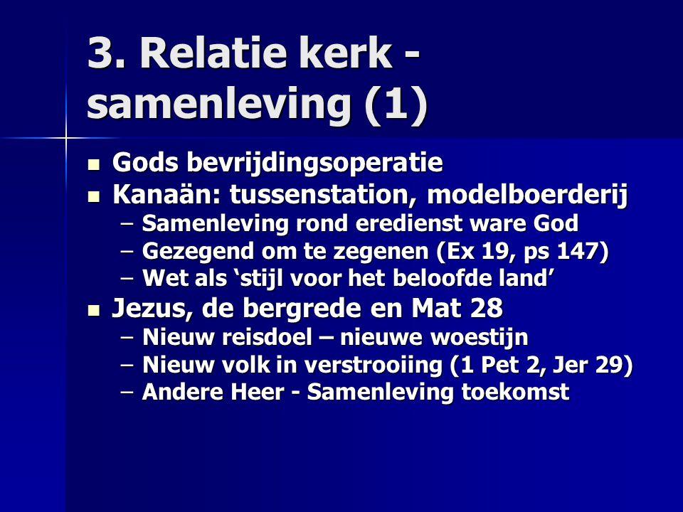 3. Relatie kerk - samenleving (1) Gods bevrijdingsoperatie Gods bevrijdingsoperatie Kanaän: tussenstation, modelboerderij Kanaän: tussenstation, model