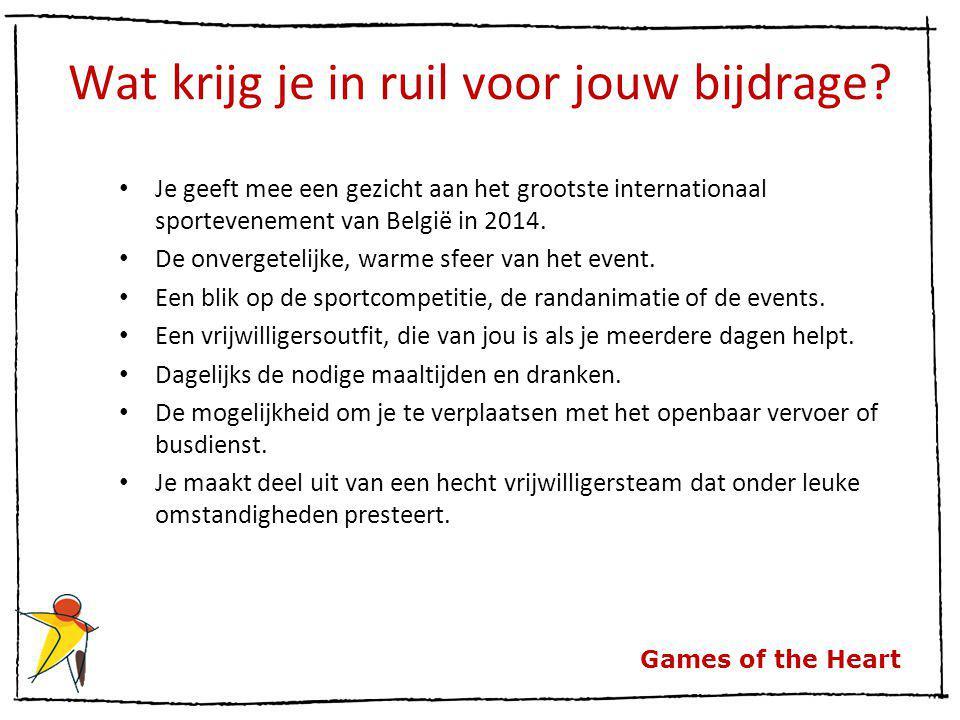 Games of the Heart Wat krijg je in ruil voor jouw bijdrage? Je geeft mee een gezicht aan het grootste internationaal sportevenement van België in 2014