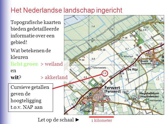 Het Nederlandse landschap ingericht 1 kilometer Topografische kaarten bieden gedetailleerde informatie over een gebied! Wat betekenen de kleuren licht