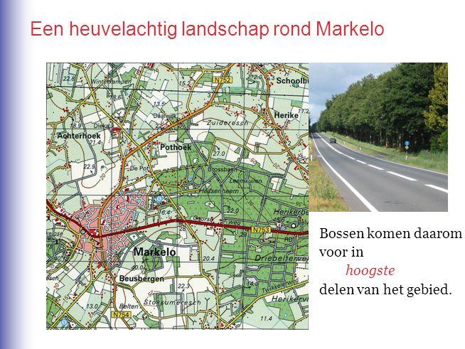 Een heuvelachtig landschap rond Markelo Bossen komen daarom voor in hoogste / laagste delen van het gebied.