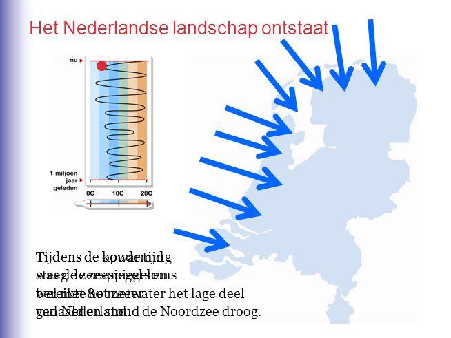 Het Nederlandse landschap ontstaat Tijdens de koude tijd was de zeespiegel soms wel met 80 meter gedaald en stond de Noordzee droog. Tijdens de opwarm