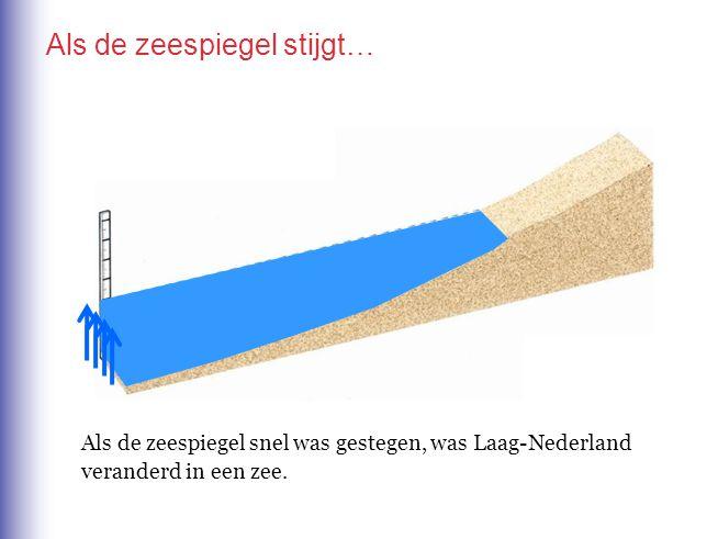 Als de zeespiegel stijgt… Als de zeespiegel snel was gestegen, was Laag-Nederland veranderd in een zee.