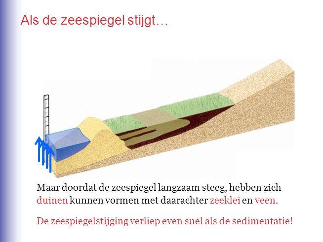 Als de zeespiegel stijgt… Maar doordat de zeespiegel langzaam steeg, hebben zich duinen kunnen vormen met daarachter zeeklei en veen. De zeespiegelsti