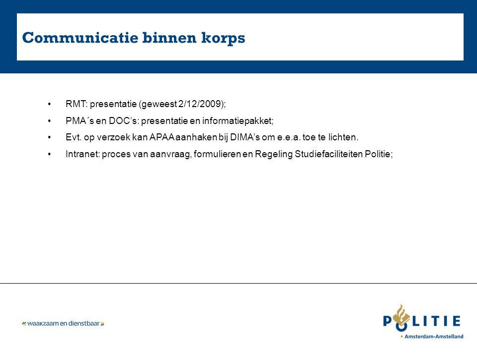 Communicatie binnen korps RMT: presentatie (geweest 2/12/2009); PMA´s en DOC's: presentatie en informatiepakket; Evt. op verzoek kan APAA aanhaken bij