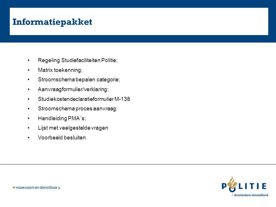 Informatiepakket Regeling Studiefaciliteiten Politie; Matrix toekenning; Stroomschema bepalen categorie; Aanvraagformulier/verklaring; Studiekostendec