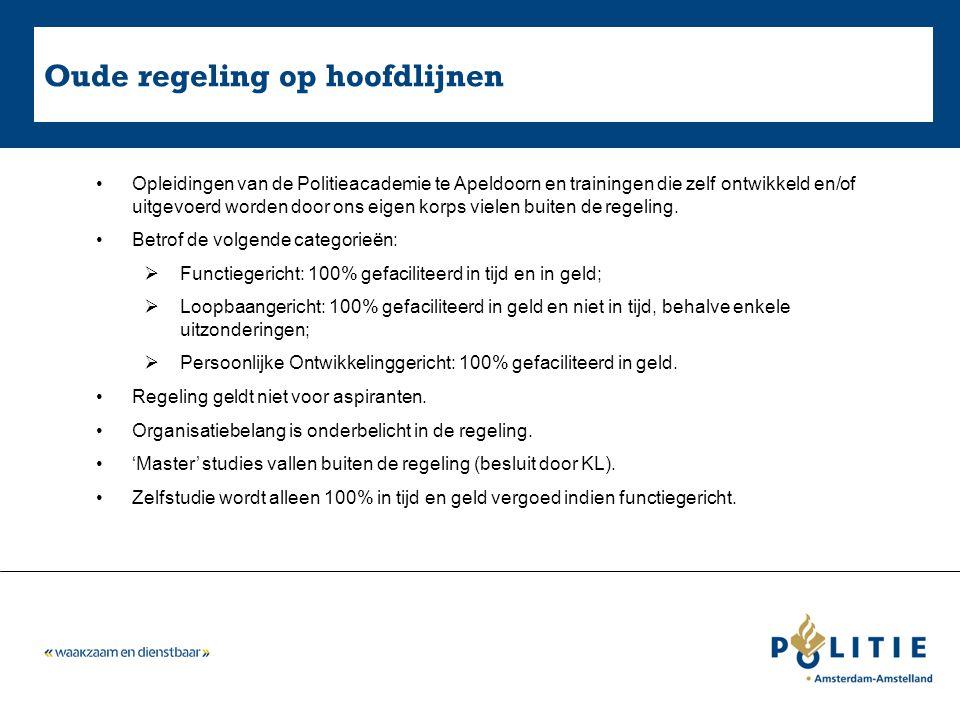 Nieuwe regeling op hoofdlijnen Alle opleidingen vallen binnen de Regeling Studiefaciliteiten Politie.