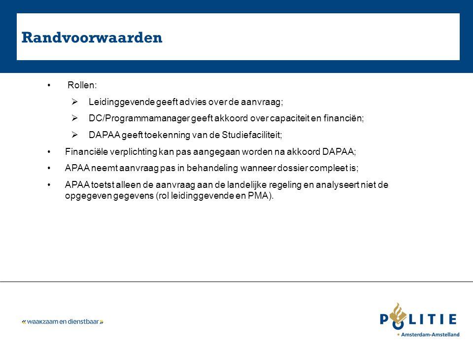 Randvoorwaarden Rollen:  Leidinggevende geeft advies over de aanvraag;  DC/Programmamanager geeft akkoord over capaciteit en financiën;  DAPAA geeft toekenning van de Studiefaciliteit; Financiële verplichting kan pas aangegaan worden na akkoord DAPAA; APAA neemt aanvraag pas in behandeling wanneer dossier compleet is; APAA toetst alleen de aanvraag aan de landelijke regeling en analyseert niet de opgegeven gegevens (rol leidinggevende en PMA).