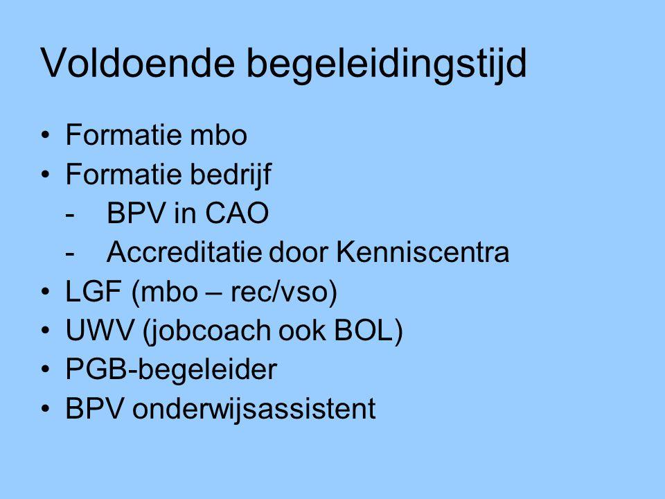 Voldoende begeleidingstijd Formatie mbo Formatie bedrijf -BPV in CAO - Accreditatie door Kenniscentra LGF (mbo – rec/vso) UWV (jobcoach ook BOL) PGB-begeleider BPV onderwijsassistent