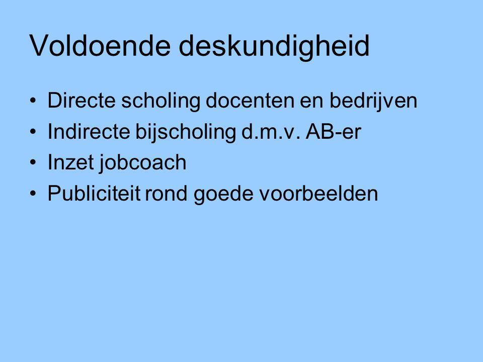 Voldoende deskundigheid Directe scholing docenten en bedrijven Indirecte bijscholing d.m.v. AB-er Inzet jobcoach Publiciteit rond goede voorbeelden