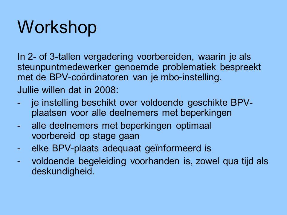 Workshop In 2- of 3-tallen vergadering voorbereiden, waarin je als steunpuntmedewerker genoemde problematiek bespreekt met de BPV-coördinatoren van je