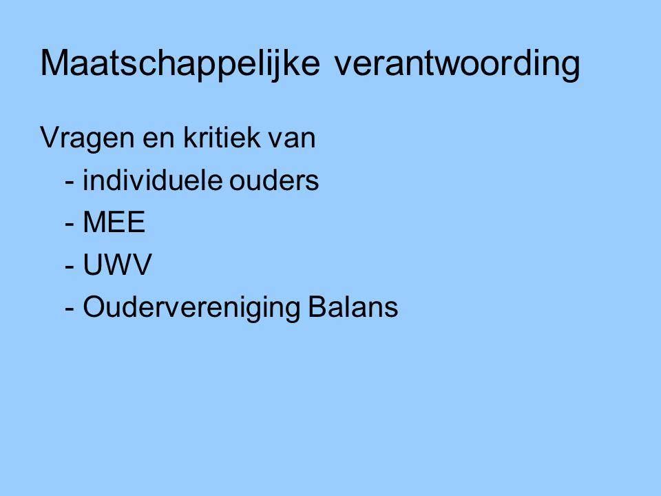 Maatschappelijke verantwoording Vragen en kritiek van - individuele ouders - MEE - UWV - Oudervereniging Balans