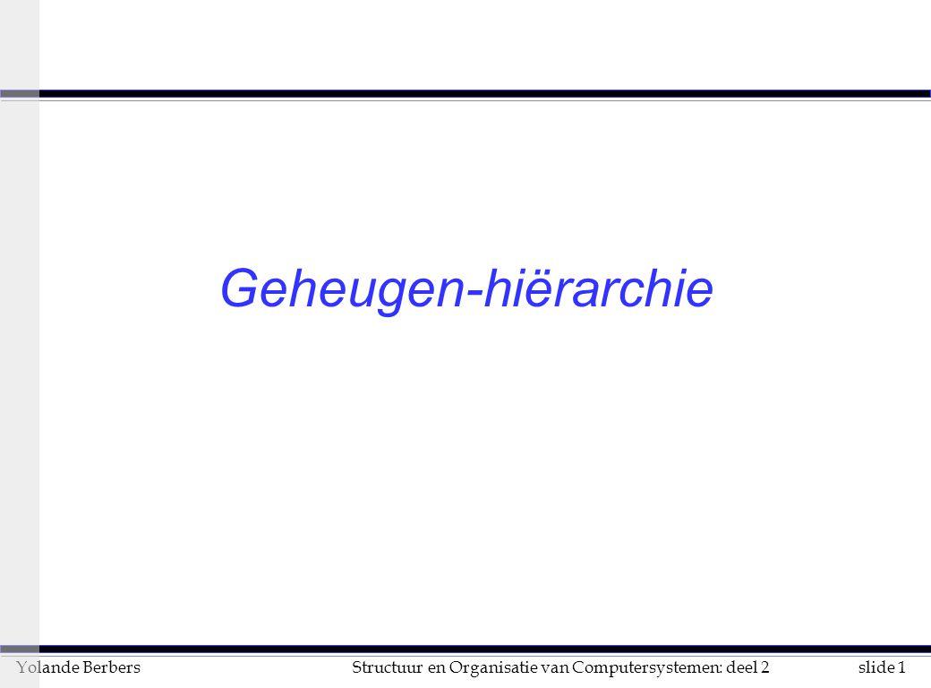 slide 1Structuur en Organisatie van Computersystemen: deel 2Yolande Berbers Geheugen-hiërarchie