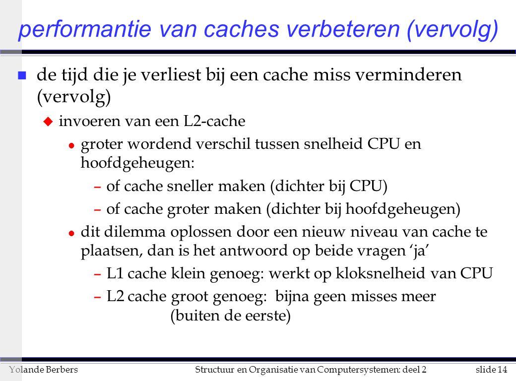 slide 14Structuur en Organisatie van Computersystemen: deel 2Yolande Berbers n de tijd die je verliest bij een cache miss verminderen (vervolg) u invoeren van een L2-cache l groter wordend verschil tussen snelheid CPU en hoofdgeheugen: –of cache sneller maken (dichter bij CPU) –of cache groter maken (dichter bij hoofdgeheugen) l dit dilemma oplossen door een nieuw niveau van cache te plaatsen, dan is het antwoord op beide vragen 'ja' –L1 cache klein genoeg: werkt op kloksnelheid van CPU –L2 cache groot genoeg: bijna geen misses meer (buiten de eerste) performantie van caches verbeteren (vervolg)