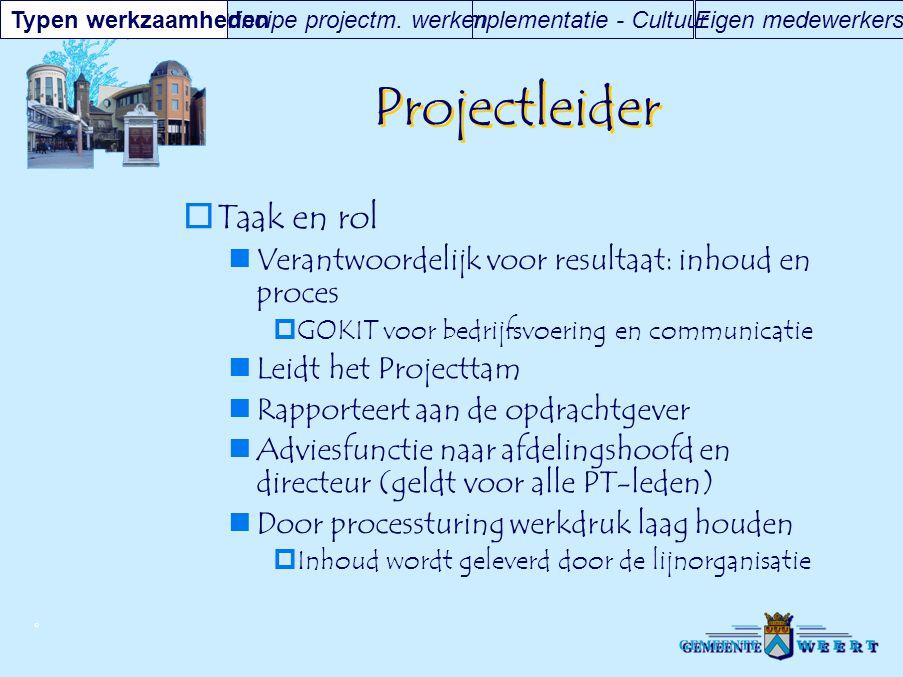 © Projectleider  Taak en rol Verantwoordelijk voor resultaat: inhoud en proces  GOKIT voor bedrijfsvoering en communicatie Leidt het Projecttam Rapp