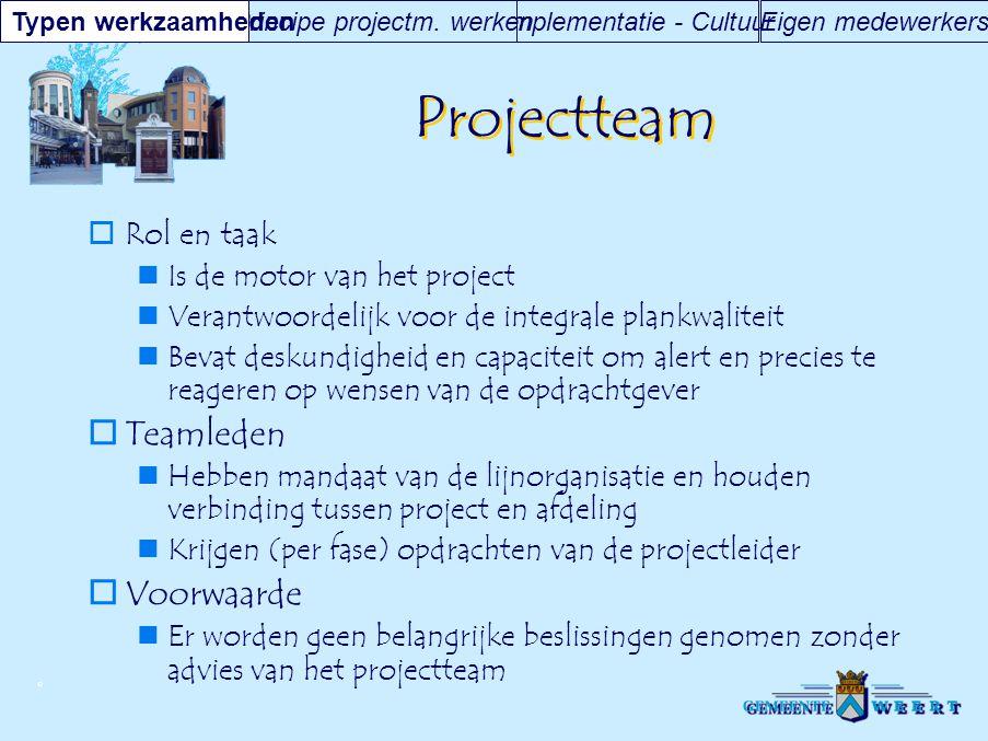© Projectteam  Rol en taak Is de motor van het project Verantwoordelijk voor de integrale plankwaliteit Bevat deskundigheid en capaciteit om alert en