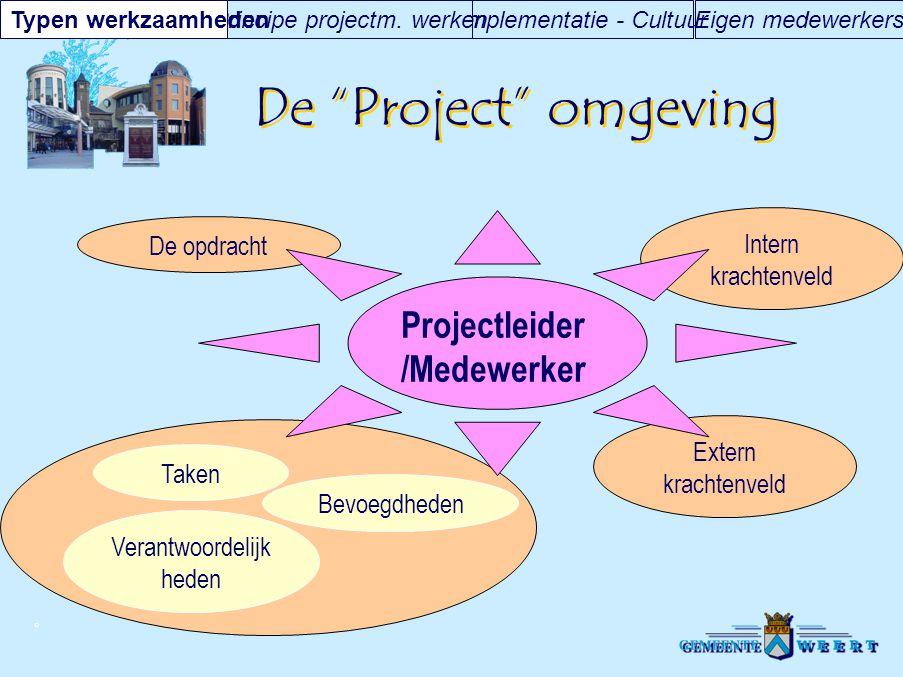 """© De """"Project"""" omgeving Eigen medewerkersImplementatie - CultuurPrincipe projectm. werkenTypen werkzaamheden Verantwoordelijk heden Extern krachtenvel"""