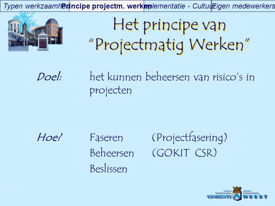 """© Het principe van """"Projectmatig Werken"""" Doel:het kunnen beheersen van risico's in projecten Hoe?Faseren (Projectfasering) Beheersen (GOKIT CSR) Besli"""