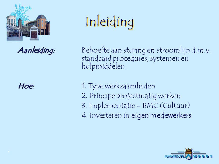 © Organisatie-structuur  Sector SO  Afdeling OmgevingsBE LEID  Afdeling  Planrealisatie  Afdeling Bouw-  en Milieuzaken  Sector SB  Afdeling Inrichting Openbare Ruimte  Afdeling Onderhoud Openbare Ruimte  Afdeling Stadstoezicht en Gebruik Initiatieffase Programmafase Ontwerpfase Voorbereidingsfase Realisatiefase Voorbereidingsfase Realisatiefase (administratief) Voorbereidingsfase Realisatiefase (uitvoering) Exploitatiefase