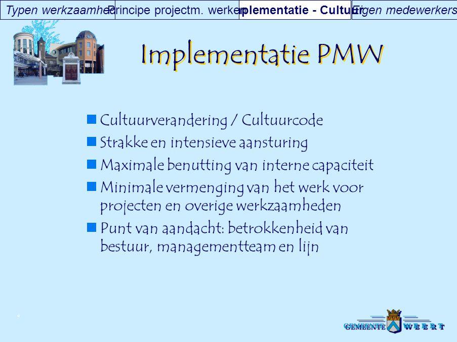 © Implementatie PMW Cultuurverandering / Cultuurcode Strakke en intensieve aansturing Maximale benutting van interne capaciteit Minimale vermenging va