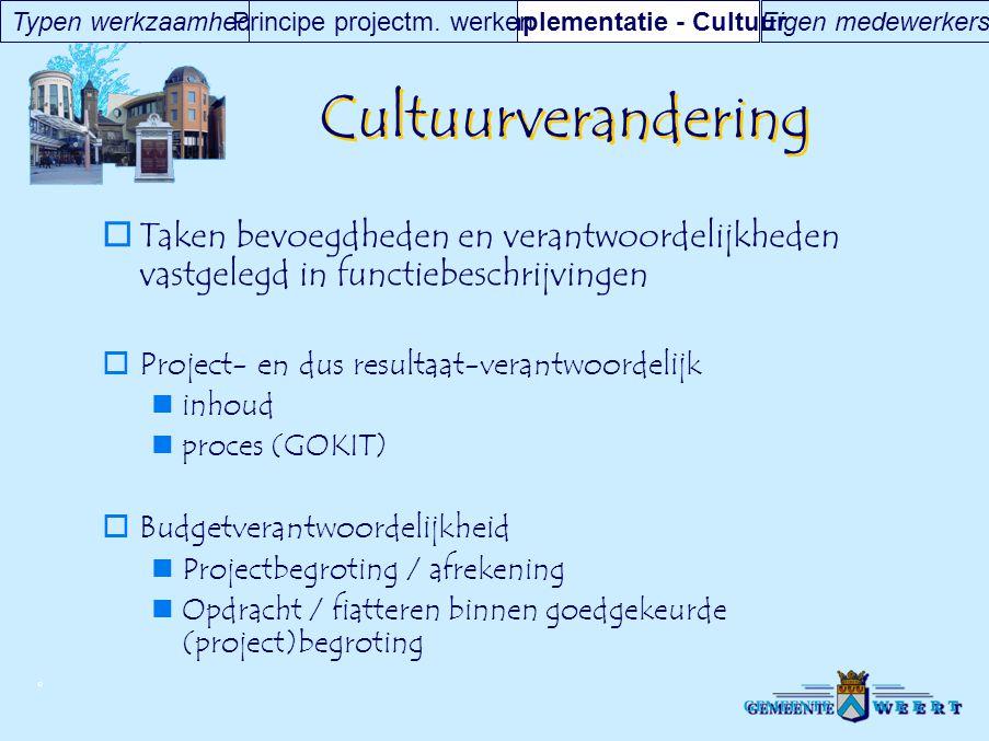 © Cultuurverandering  Taken bevoegdheden en verantwoordelijkheden vastgelegd in functiebeschrijvingen  Project- en dus resultaat-verantwoordelijk in