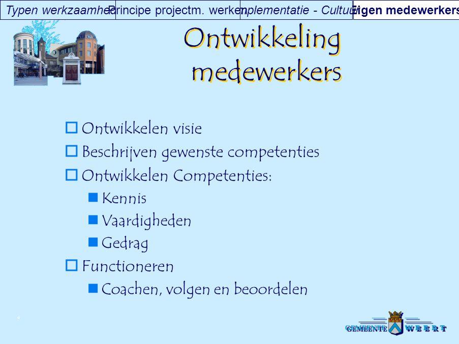 © Ontwikkeling medewerkers  Ontwikkelen visie  Beschrijven gewenste competenties  Ontwikkelen Competenties: Kennis Vaardigheden Gedrag  Functioner