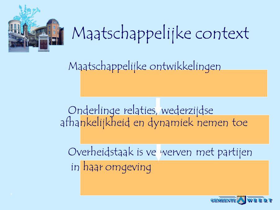 © Maatschappelijke context Maatschappelijke ontwikkelingen Onderlinge relaties, wederzijdse afhankelijkheid en dynamiek nemen toe Overheidstaak is ver