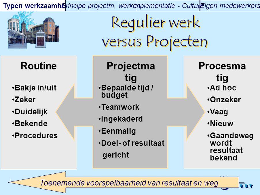 © Bakje in/uit Zeker Duidelijk Bekende Procedures Ad hoc Onzeker Vaag Nieuw Gaandeweg wordt resultaat bekend Regulier werk versus Projecten RoutinePro