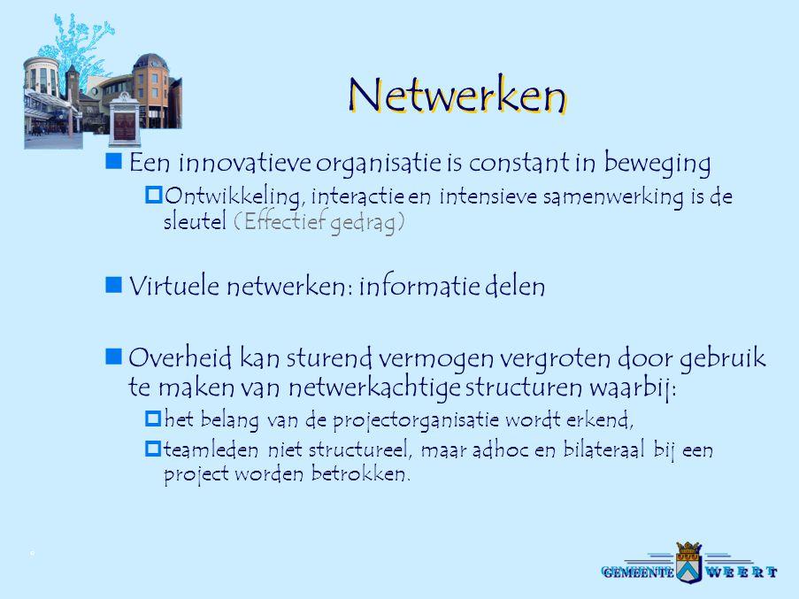 © Netwerken Een innovatieve organisatie is constant in beweging  Ontwikkeling, interactie en intensieve samenwerking is de sleutel (Effectief gedrag)