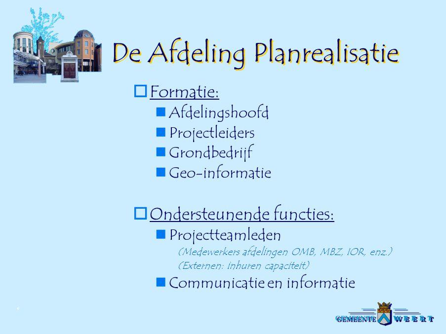 © De Afdeling Planrealisatie  Formatie: Afdelingshoofd Projectleiders Grondbedrijf Geo-informatie  Ondersteunende functies: Projectteamleden (Medewe
