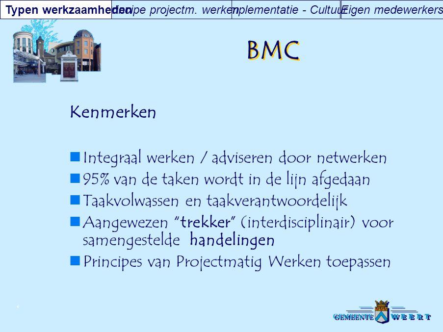 © BMC Kenmerken Integraal werken / adviseren door netwerken 95% van de taken wordt in de lijn afgedaan Taakvolwassen en taakverantwoordelijk Aangeweze