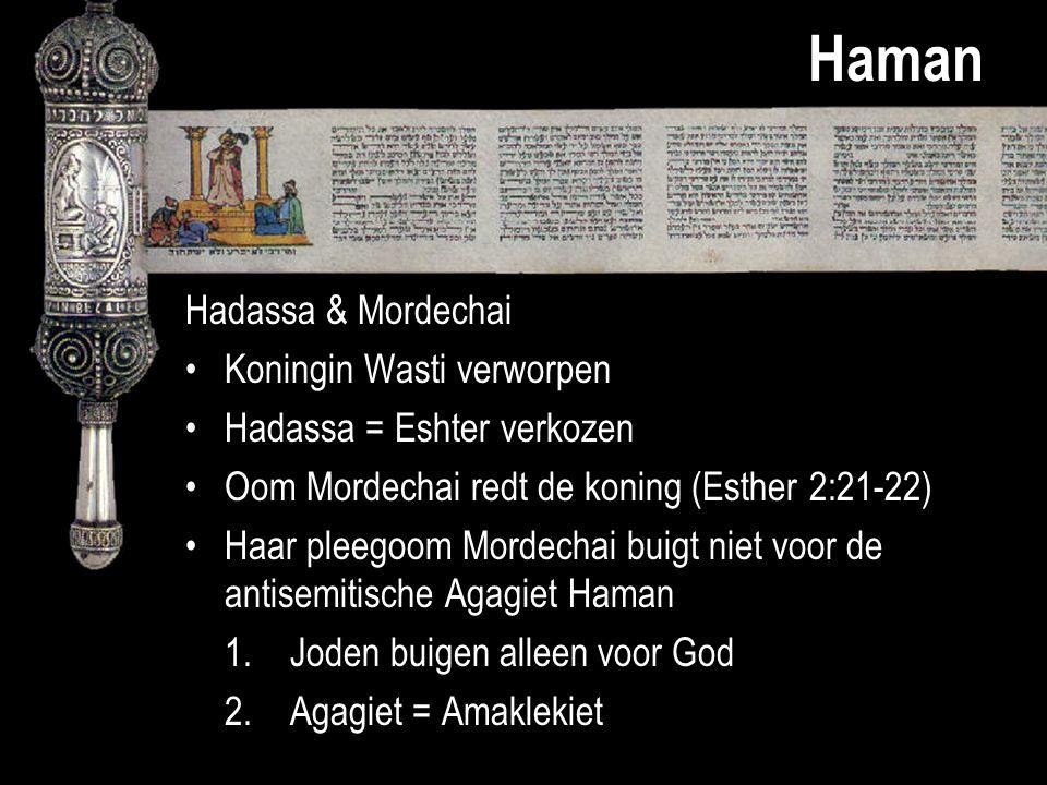 Haman Hadassa & Mordechai Koningin Wasti verworpen Hadassa = Eshter verkozen Oom Mordechai redt de koning (Esther 2:21-22) Haar pleegoom Mordechai bui