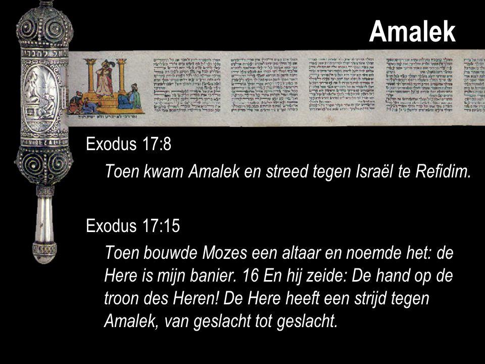 Amalek Exodus 17:8 Toen kwam Amalek en streed tegen Israël te Refidim. Exodus 17:15 Toen bouwde Mozes een altaar en noemde het: de Here is mijn banier