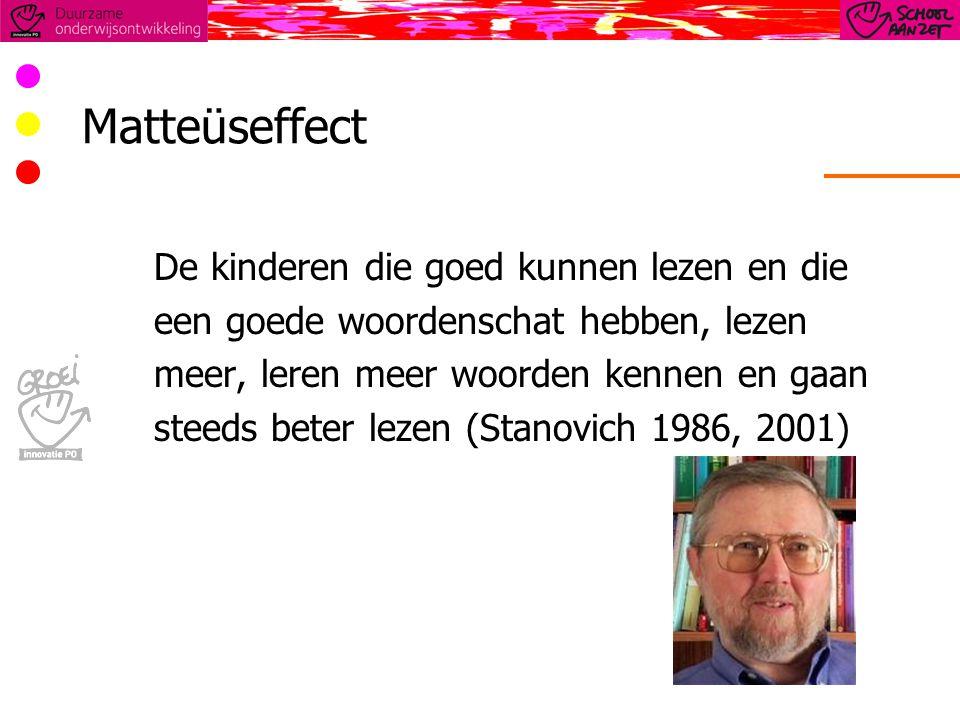 Matteüseffect De kinderen die goed kunnen lezen en die een goede woordenschat hebben, lezen meer, leren meer woorden kennen en gaan steeds beter lezen (Stanovich 1986, 2001)