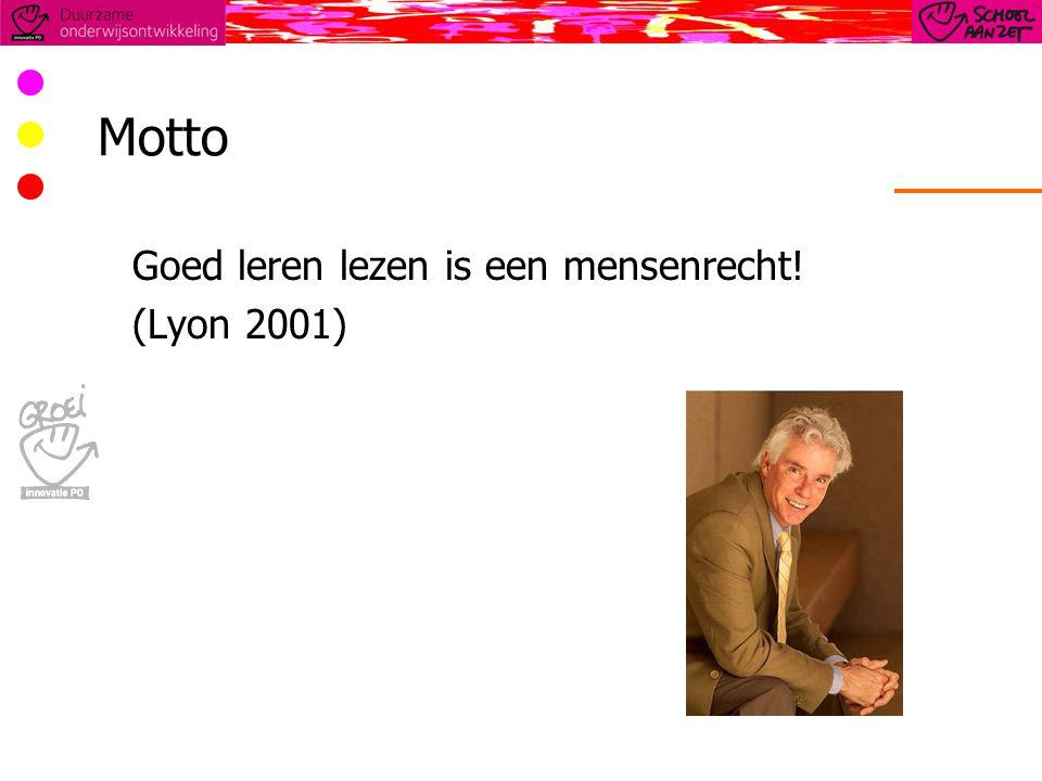 Motto Goed leren lezen is een mensenrecht! (Lyon 2001)