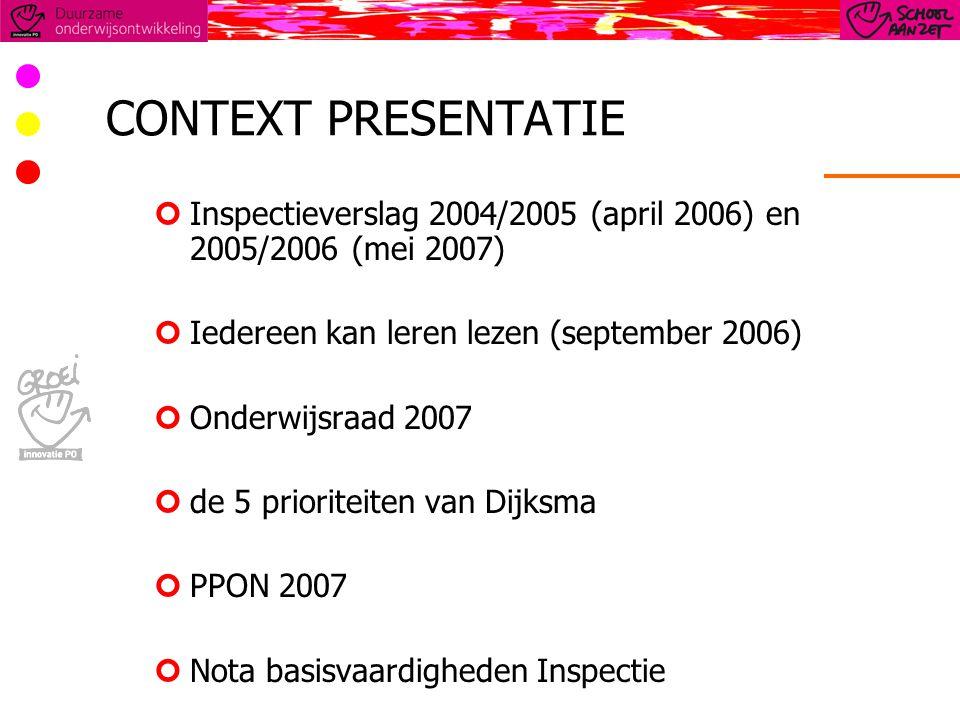 CONTEXT PRESENTATIE Inspectieverslag 2004/2005 (april 2006) en 2005/2006 (mei 2007) Iedereen kan leren lezen (september 2006) Onderwijsraad 2007 de 5 prioriteiten van Dijksma PPON 2007 Nota basisvaardigheden Inspectie