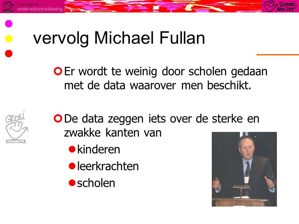 vervolg Michael Fullan Er wordt te weinig door scholen gedaan met de data waarover men beschikt.