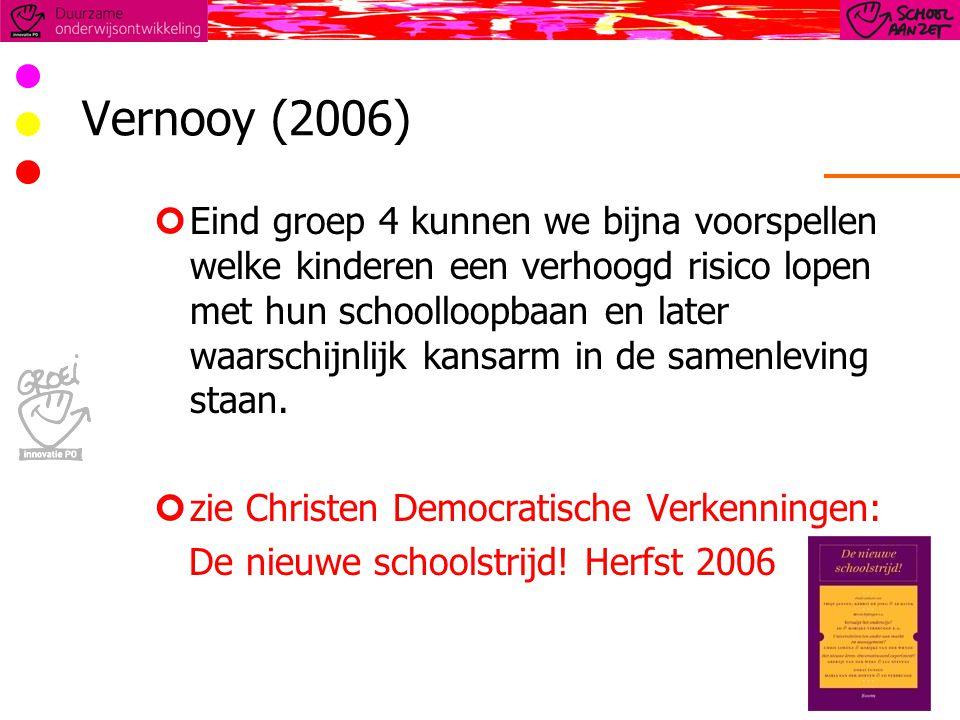 Vernooy (2006) Eind groep 4 kunnen we bijna voorspellen welke kinderen een verhoogd risico lopen met hun schoolloopbaan en later waarschijnlijk kansarm in de samenleving staan.