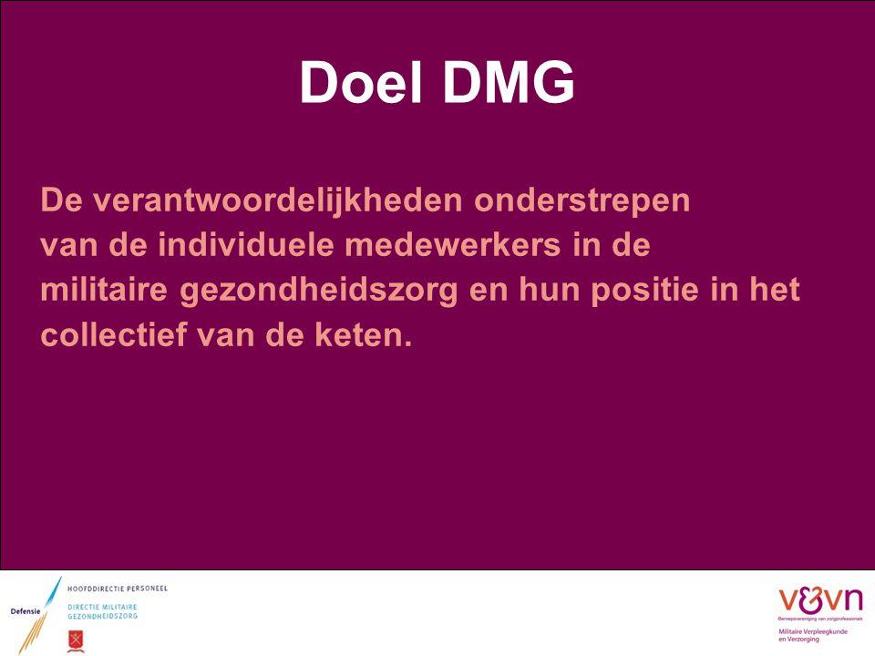 Doel DMG De verantwoordelijkheden onderstrepen van de individuele medewerkers in de militaire gezondheidszorg en hun positie in het collectief van de