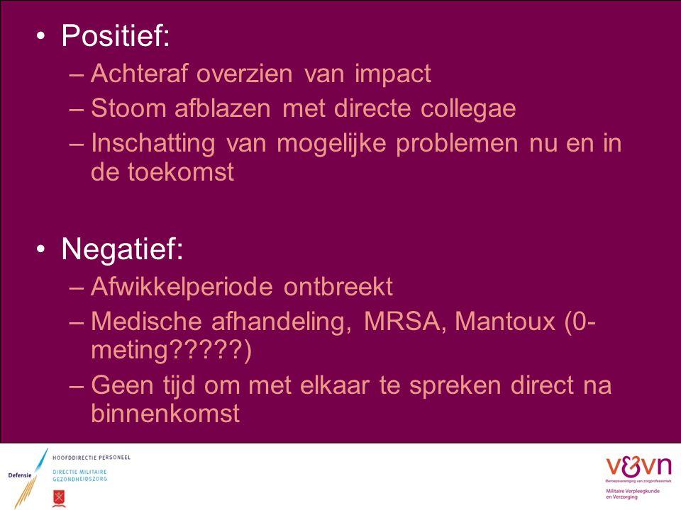 Positief: –Achteraf overzien van impact –Stoom afblazen met directe collegae –Inschatting van mogelijke problemen nu en in de toekomst Negatief: –Afwi