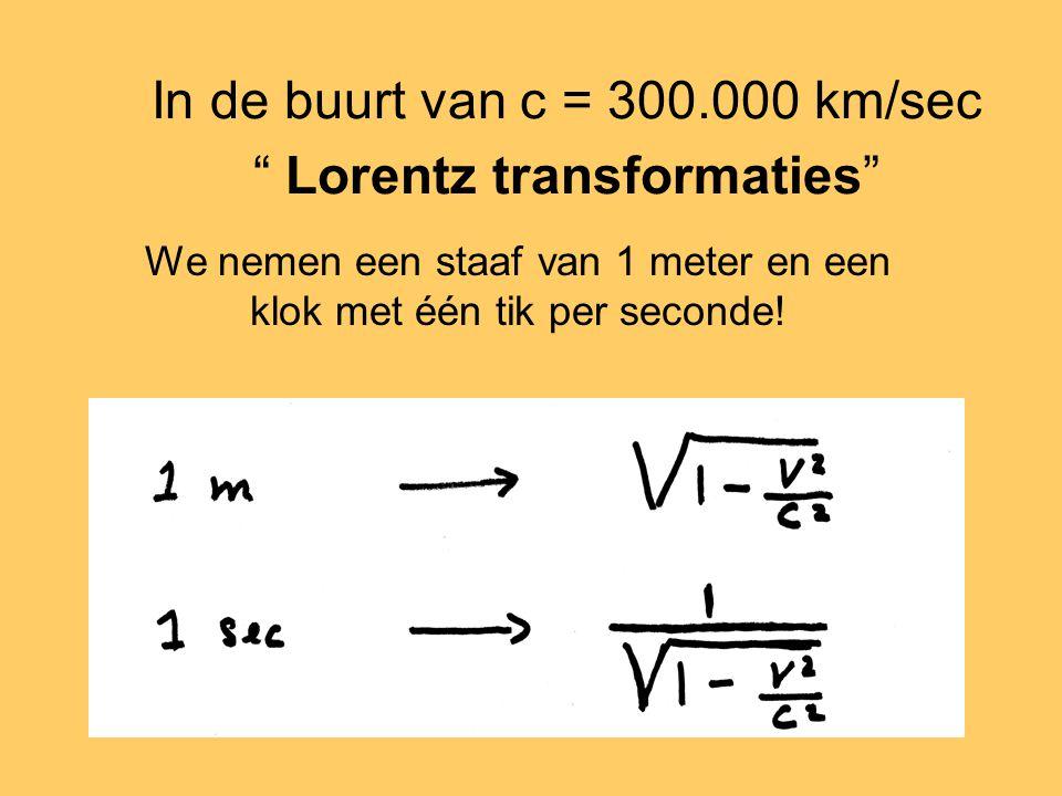 In de buurt van c = 300.000 km/sec Lorentz transformaties We nemen een staaf van 1 meter en een klok met één tik per seconde!
