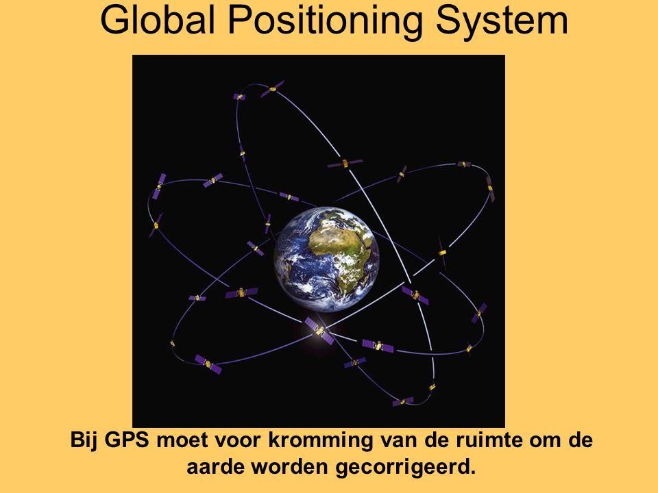 Global Positioning System Bij GPS moet voor kromming van de ruimte om de aarde worden gecorrigeerd.