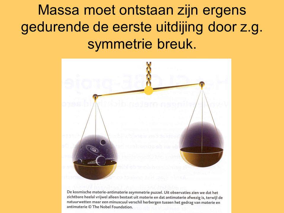 Massa moet ontstaan zijn ergens gedurende de eerste uitdijing door z.g. symmetrie breuk.