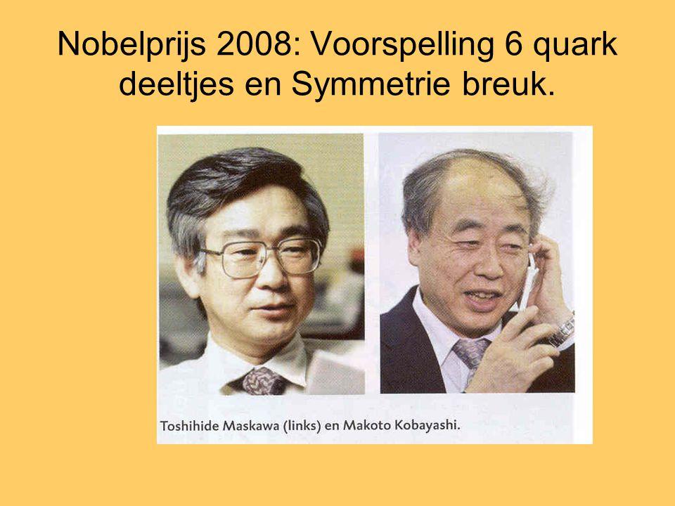 Nobelprijs 2008: Voorspelling 6 quark deeltjes en Symmetrie breuk.