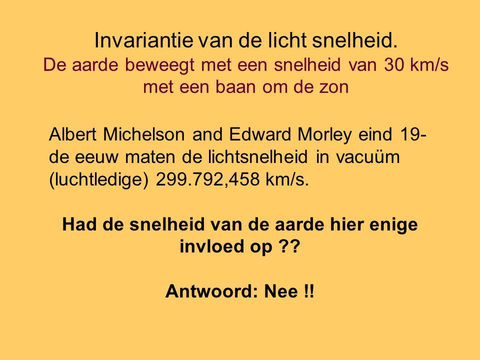 Invariantie van de licht snelheid. De aarde beweegt met een snelheid van 30 km/s met een baan om de zon Albert Michelson and Edward Morley eind 19- de