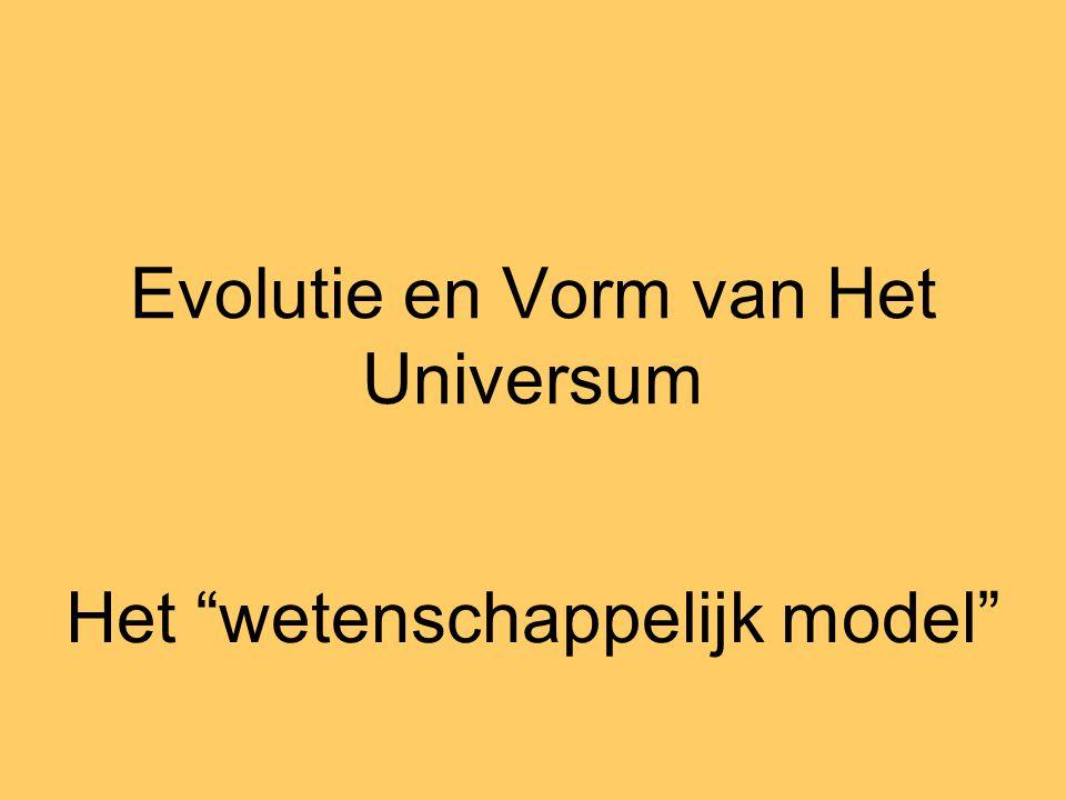 """Evolutie en Vorm van Het Universum Het """"wetenschappelijk model"""""""