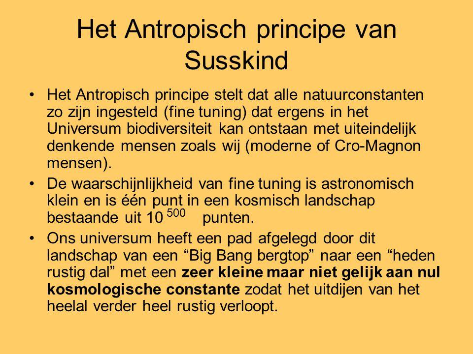 Het Antropisch principe van Susskind Het Antropisch principe stelt dat alle natuurconstanten zo zijn ingesteld (fine tuning) dat ergens in het Univers