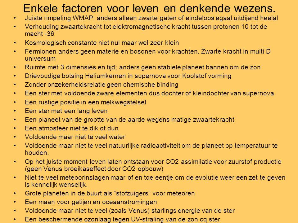 Enkele factoren voor leven en denkende wezens.