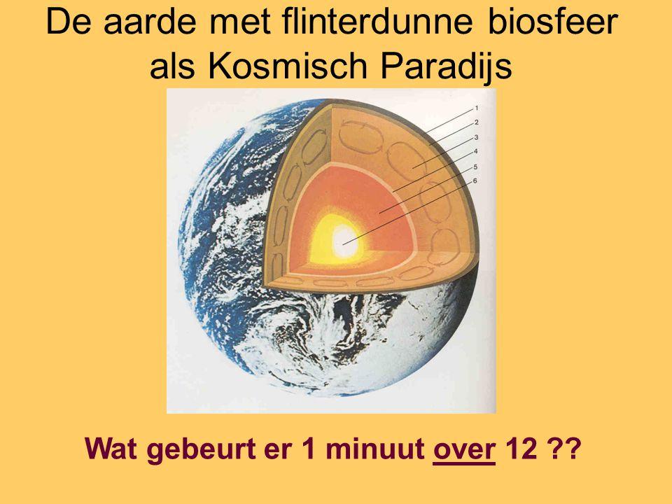 De aarde met flinterdunne biosfeer als Kosmisch Paradijs Wat gebeurt er 1 minuut over 12 ??